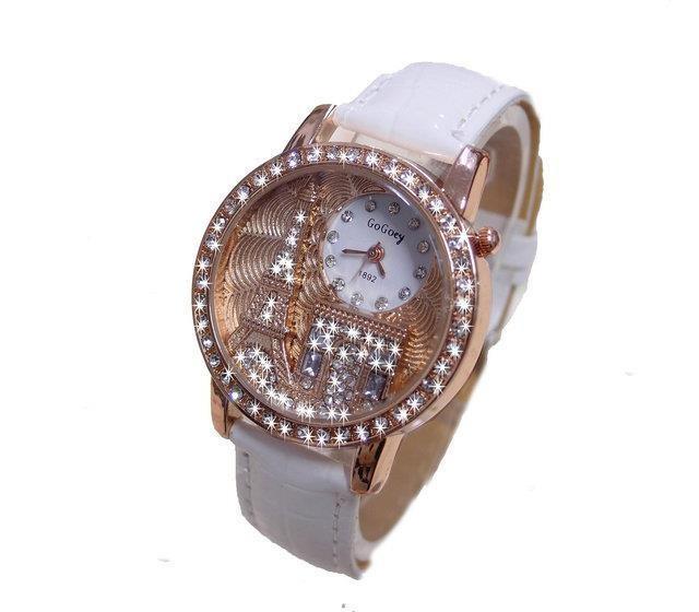 Marca Gogoey Donne strass orologi di Lusso di Cristallo La Torre Eiffel Vigilanza di Modo white