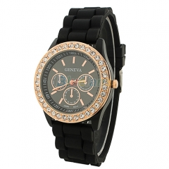 Aqua Ceramic Style Silicone Gel Band Crystal Women's Watch black