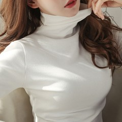 Turtleneck Bottoming Shirt Female Long Sleeved Solid Color Korean Version of the Fall And Winter Women Warm Slim Was Thin Shirt Blouses Black S