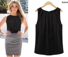 Women New Fashion Beautiful Sleeveless round collar chiffon tank top Blouse 1 pc black S