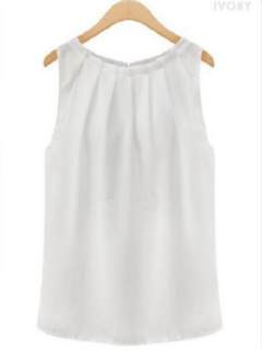 Women New Fashion Beautiful Sleeveless round collar chiffon tank top Blouse 1 pc white 2XL