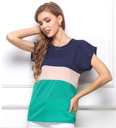 Women Office Lady Short Sleeve Chiffon Stripe Tops Blouse S-3XL Green s