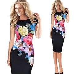 Summer Women's Flower print stretch wrap hip Slim Ladies pencil bodycon dress s Black