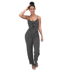 Women's striped suspenders wide-leg jumpsuits sexy summer club jumpsuits Black S