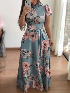 Ladies New style flower print short sleeve large swing dress women's dresses xxl Light Green