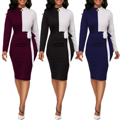 Women Sexy Mixed Color Bodycon Dresses Long Sleeve Office Lady Elegant Dress Party Club Dress S Wine Red