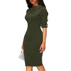 Women Solid Color Half Sleeves Elegant Office Lady Knee Length Pencil Dress m army green