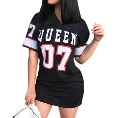Women's Dresses Hip-hop Letter Printed Girls Short Sleeve Dresses m black