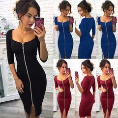 Fashion Women Dresses Zipper Up Sexy Slash Neck Party Dresses Laidies Slim Dresses l black