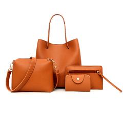 4 Pcs Women's bag new solid color mother bag female handbag sets shoulder bag Brown 25*17*24cm