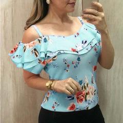 Women Short Sleeve Flower Printed Off Shoulder Top Blouse blue 4xl