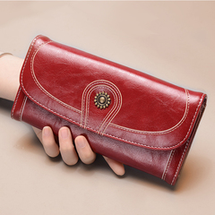 Women's Vintage Leather Wallet RFID Blocking Wallets Sunflower Leather Long Purse red long style