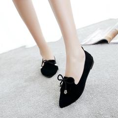 Women Ballet Flats Shoes Lady Fashion Tassel Solid Bow Tie Shoes black 35