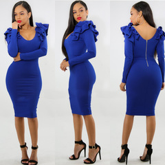 Women Long Sleeve Bodycon Dress Office Lady Party Dress s blue