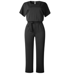 Woman's jumpsuits Summer style zip-up short-sleeved jumpsuits black s