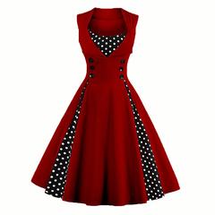 Women's dresses European and American patchwork halburne vintage wave point dress woman l wine red