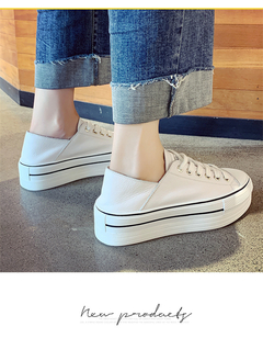 Head layer cowhide muffin thick sole little white shoe lady In the summer The new Breathable joker white 35