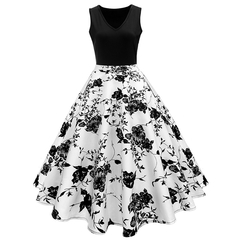 Women's dress print dress women's sleeveless train skirt white s