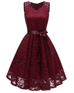 Woman's evening dress Sexy new 2019 v-neck sleeveless full lace skirt s burgundy