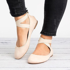 Flat heel, single shoe, elastic strap, mother's shoes, round-headed women's shoes, large size Beige 41