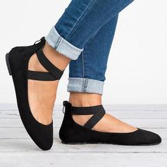 Flat heel, single shoe, elastic strap, mother's shoes, round-headed women's shoes, large size black 35