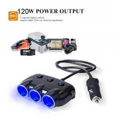 120W 12V-24V Car Cigarette Lighter Socket Splitter Plug LED USB Charger Adapter for Infinix Tecno