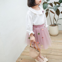 Girls  Short Skirt  Fruit Embroidery Soft Baby's Mesh Half-length Skirt  Baby's fluffy skirt purple 100