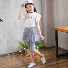 Suit Skirt Summer children's lace skirts+Pants autumn gauze skirt leisure party pants Baby skirts pink 100