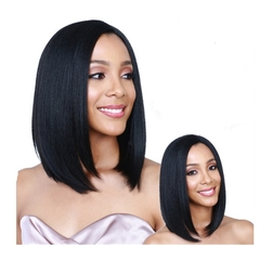 Female Short Straight Black Hair Synthetic Wig Distribution Type Personality Face Repair Wave Head black as picture
