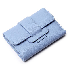 Women's wallet Deluxe Lady's Coin Purse Short Multifunctional Belt-and-buckle Card Holders light blue one size