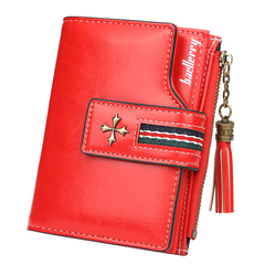 Women's Wallet New Model 2019 Personality Tassels  Zipper Soft leather Short Paragraph Coin Purse red one size