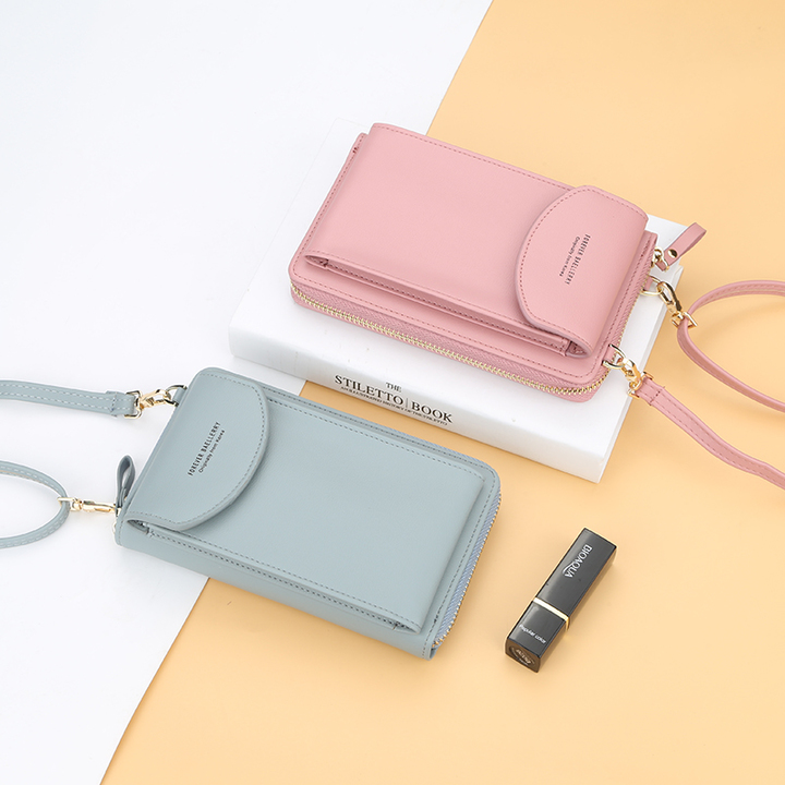 Women Wallet Clutch bag Pure color Small oblique spanning bag Mobile phone  M coin purse red one size