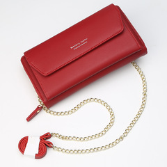 Lady's wallet fashion High-capacity chain Edition Women bag Long style handbag Oblique span Packet red one size