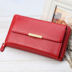 Women Wallet  Lady High-capacity Multi-function  single shoulder bag  long Clutch bag coin purse red one size