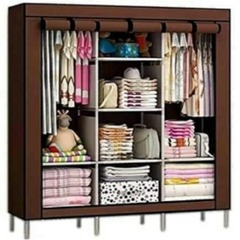 3 Columns Portable Wardrobe brown
