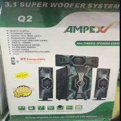 AMPEX SUPER SOUND SYSTEM/SPEAKER SYSTEM, black 12000w 3.1 woofer system