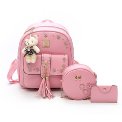 New leisure fashion backpack female college wind students schoolbag travel bag  child mother bag Pink One Size