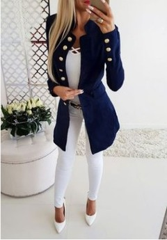 ew Arrival Fashion Lady Retro Solid Color Suits Jacket Women Long Sleeve Casual Tops Blazers blue m