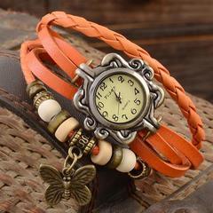 2019 antique strap watch butterfly pendant watch bracelet watch pendant watch Orange One Size