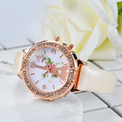 Creative small fresh watch rattan tower color fine belt watch salt essential White one size