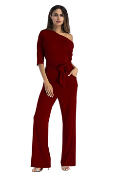 Women's classic solid color slant collar button pants with wide legs wine red S