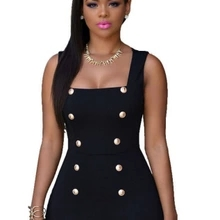 Double breasted gold button jumpsuit sleeveless uniform jumpsuit Black S