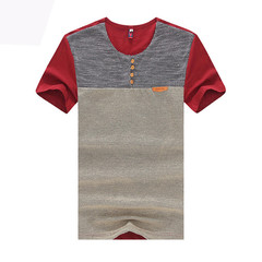 Summer new men's fashion collars short sleeve t-shirts Red s cotton
