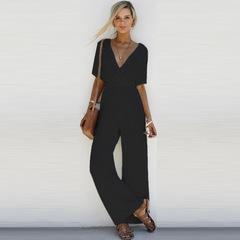 Hot style short sleeved V collar loose body wide leg pants new spot black s