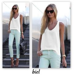 Hot style v neck chiffon loose sleeveless plain T-shirt top white s