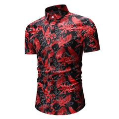 2019 summer foreign trade new men's casual short sleeve printed shirt Black M