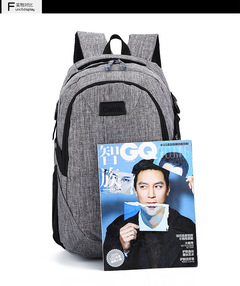 fashion business men's computer bag high school students backpack men's backpack gray one size