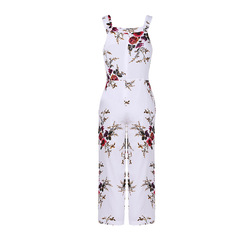 Ladies hot style spot printed multicolor sleeveless suspenders with wide legs white s