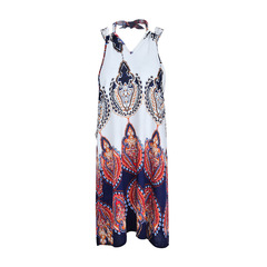 Hot style fashion loose print sleeveless sexy mini dress size One Colour s