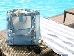 travel bag beach net bag single shoulder large capacity beach bag multi-functional clothing bag Blue One Size